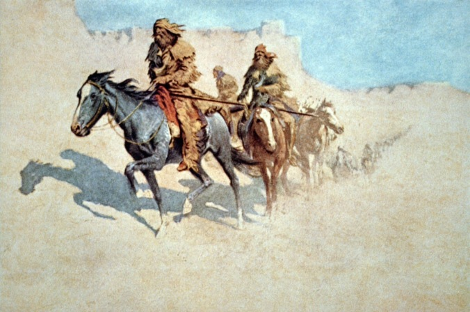 Smith and men in the Mojave Desert in 1826, as painted by Remington ca. 1905.